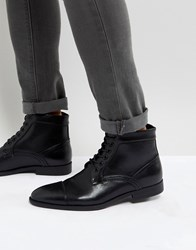 Asos Lace Up Boots In Black Faux Leather