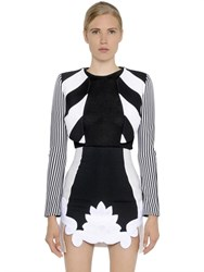 Antonio Berardi Cropped Striped Jersey And Scuba Bolero