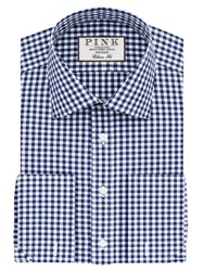 Thomas Pink Summers Check Classic Fit Double Cuff Shirt Navy White