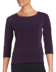 T Tahari Sumaya Three Quarter Sleeved Top Aubergine
