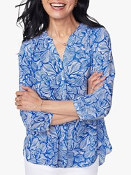 Nydj Pintuck Pleat Back Blouse Blue Cosmos