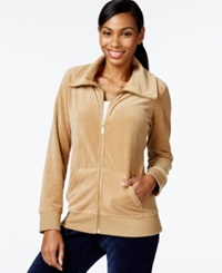 Style And Co. Sport Velour Zip Front Track Jacket Only At Macy's Camel Luxe