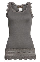 Rosemunde 'S Silk And Cotton Rib Knit Tank Dark Grey