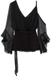 Love Sam Cold Shoulder Wrap Effect Georgette Blouse Black