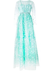 Si Jay Floral Embroidered Tulle Gown Women Polyamide 40 Green