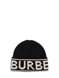 Burberry Logo Cashmere Knit Hat Black