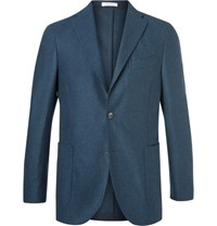 Boglioli Blue Slim Fit Melange Virgin Wool Blazer Navy