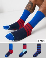 Penguin Broad Striped Sock 3 Pack In Red And Blue Multi