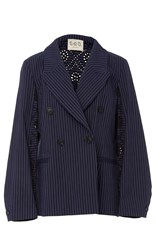 Sea Double Breasted Eyelet Blazer Navy