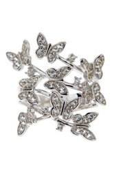 Sterling Silver Created White Sapphire Butterfly Cluster Ring Metallic