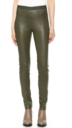 Acne Studios Clean Leather Pants Moss Green