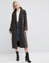 Asos Coat In Check With Contrast Cuff Multi