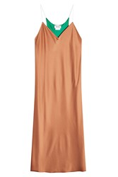 Dkny Satin Slip Dress Brown