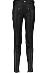 Balmain Pierre Stretch Leather Skinny Pants Black