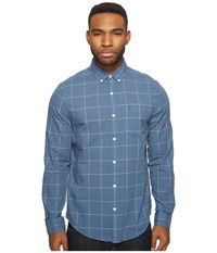 Original Penguin Long Sleeve Lawn Windowpane Woven Shirt Bering Sea Men's Long Sleeve Button Up Blue