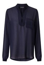 James Lakeland Long Sleeve Pockets Blouse Blue