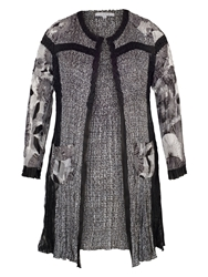 Chesca Black Ivory Patchwork Crush Pleat Coat Black And Ivory
