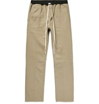 Fear Of God Selvedge Cotton Twill Drawstring Trousers Beige