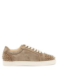 Christian Louboutin Seavaste 2 Spiked Leather Trainers Khaki