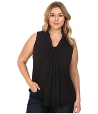 Vince Camuto Plus Size Sleeveless High Low Hem V Neck Top With Woven Scarf Rich Black Women's Sleeveless