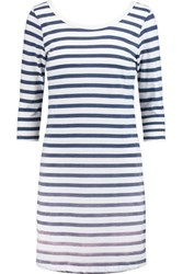 Splendid Sunfaded Striped Cotton Blend Jersey Mini Dress Navy
