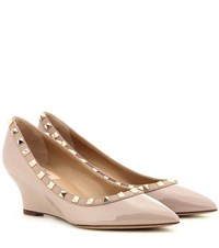 Valentino Rockstud Leather Wedge Pumps Neutrals