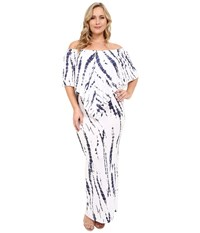 Culture Phit Plus Size Ayden Dress White Navy Tie Dye Women's Dress