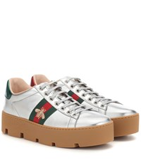 Gucci Ace Leather Platform Sneakers Metallic