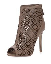 Badgley Mischka July Leather Peep Toe Bootie Mushroom