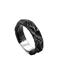 John Hardy Oxidized Sterling And Black Sapphire Lava Slim Band Ring Size 11