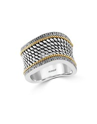 Effy 14K Yellow Gold 925 Sterling Silver And Diamond Ring Two Tone