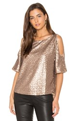 Splendid Sequin Embellished Cut Out Shoulder Top Metallic Copper