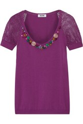 Moschino Cheap And Chic Embellished Knitted Cotton Top Purple