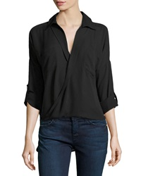 Hilda B. 3 4 Sleeve Cross Front Blouse Black