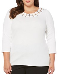 Rafaella Plus Three Quarter Sleeve Cotton Top Snow White