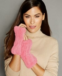 The Fur Vault Fingerless Knitted Mink Gloves Pink