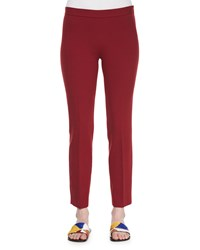 The Row Skinny Side Zip Stretch Wool Canvas Pants Crimson Red