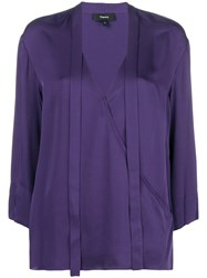 Theory Vip V Neck Bouse Pink And Purple