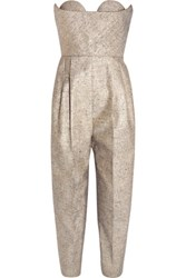 Delpozo Strapless Metallic Tweed Jumpsuit Fr44