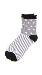 Plush Dot Stripe Rolled Fleece Socks Charcoal