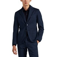 Barneys New York Herringbone Cotton Blend Two Button Sportcoat Navy