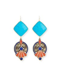 Devon Leigh Turquoise And Lapis Bezel Statement Earrings Blue Gold