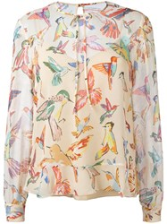 Red Valentino Bird Print Blouse Nude Neutrals