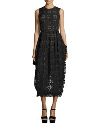 Simone Rocha Eyelet Sleeveless Midi Dress Black