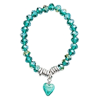 Martick Murano Heart And Crystal Bracelet Green