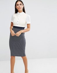 Vesper Pencil Dress With Button Up Top Stripe Grey
