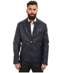 Marc New York Broadway Bubble P U Moto Jacket W Quilted Sleeve Detail Ink Men's Coat Navy