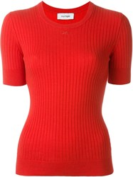 Courra Ges Ribbed Knitted Top Red