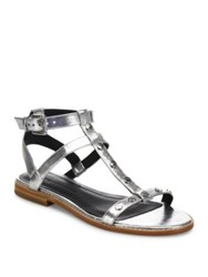 Rebecca Minkoff Sandy Studded Metallic Gladiator Sandals Silver