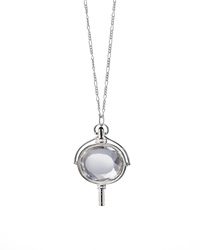 Monica Rich Kosann Large Silver Pocket Watch Key Rock Crystal Necklace Silver